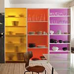 colored plexiglass bookshelf